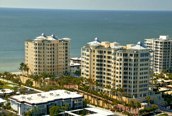 Aerial view of condos and Gulf of Mexico