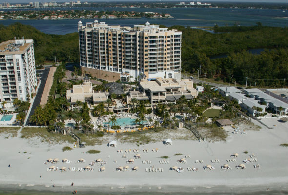 Aerial view of building and beach