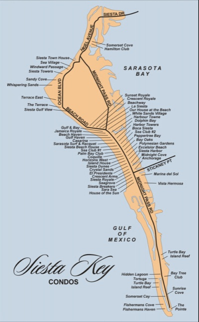 florida map showing siesta key