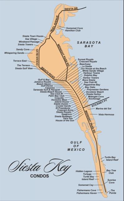 Map Of The Keys Florida.Siesta Key Florida Condo Map Beach Bay