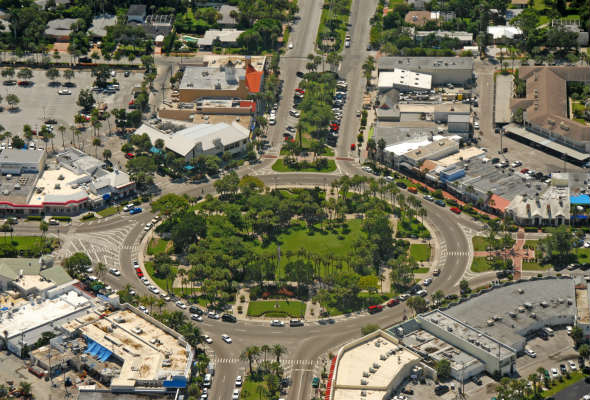 Aerial view of St Armands Circle
